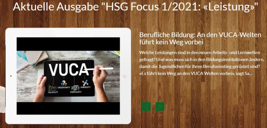 """Bild Aktuelle Ausgabe """"HSG Focus 1/2021: Leistung"""""""