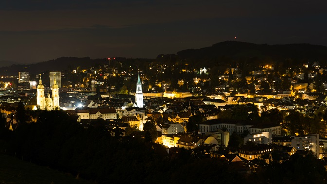 View of the city of St.Gallen by night